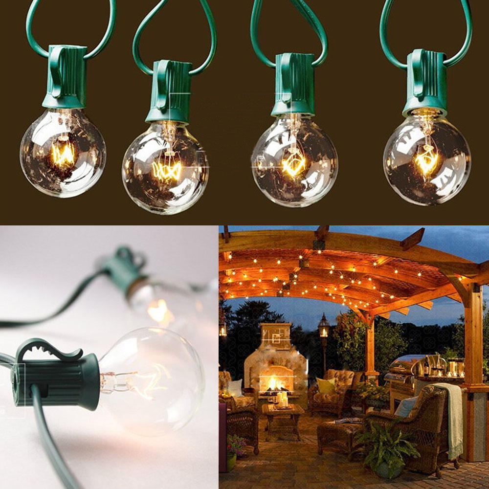 25 100 foot globe patio outdoor xmas wedding string lights. Black Bedroom Furniture Sets. Home Design Ideas