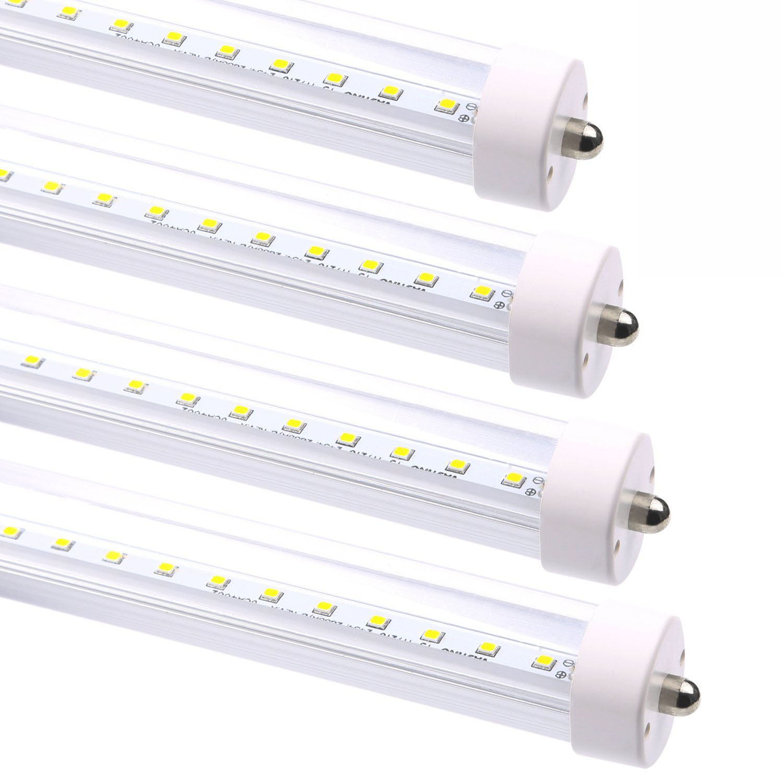 8FT T8 T12 FA8 40W Single Pin LED Tube Light Fixture Clear